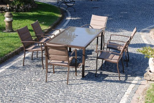 Set lobra dining tavolo e sedie in ferro per arredo for Poltroncine in ferro da esterno