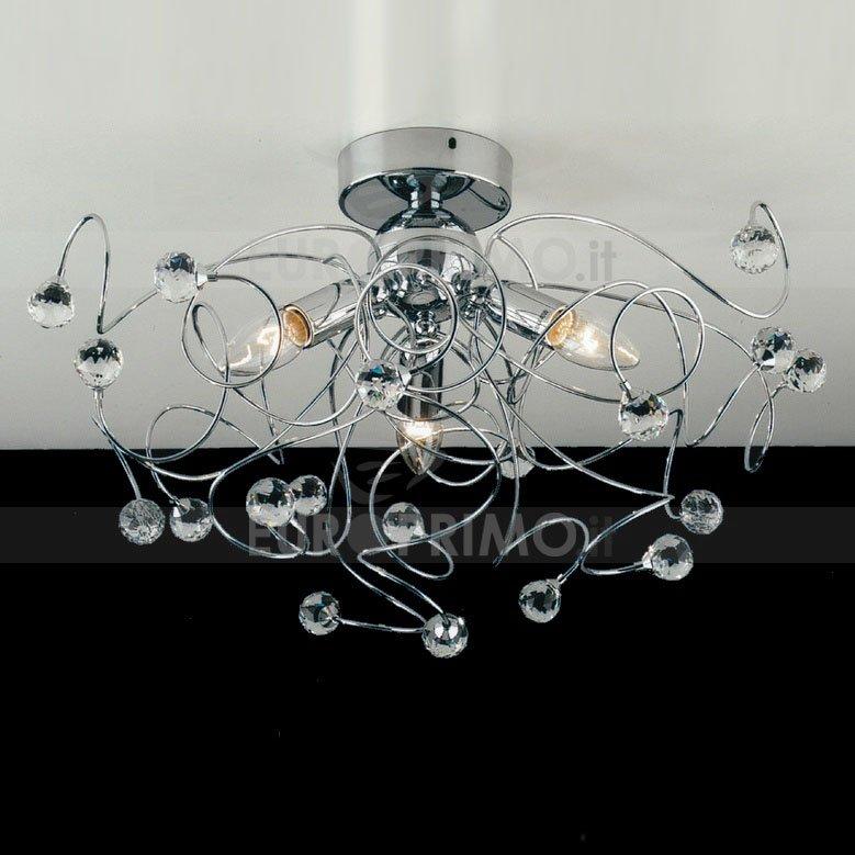 Lampada A Plafoniera Design Stile Moderno In Cristallo A 3 Luci