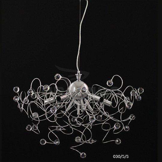 Lampadario A Sospensione Design Moderno Cristallo 5 Luci