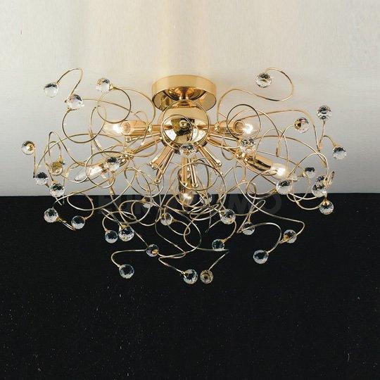 Lampada A Plafoniera Design Stile Moderno In Cristallo A 5 Luci