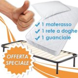 Set Materasso Singolo in Poli Lattice - Rete a Doghe - Guanciale