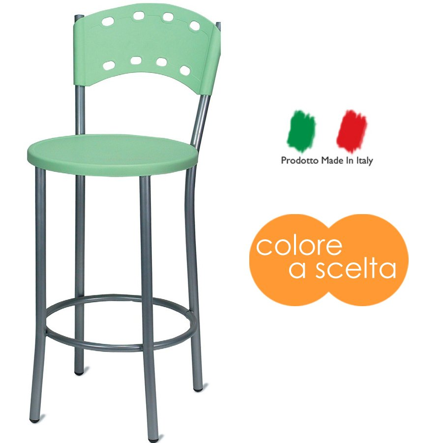 Sgabello Matriarca In Metallo Con Seduta In Plastica Colorata
